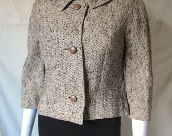 Vintage 60s Women's Mad Men Barberini Dress Coat Jacket Medium
