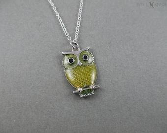 Silver Yellow Owl Pendant