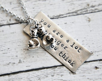 Boxing Glove Necklace - You Are Stronger Than You Think - Crossfit Gift - Boxing Glove Charm - Hand Stamped - Gift for Her - Gift for Women