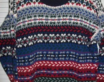 Sweater Men's Fair Isle,  Chips & Twigs Fair Isle Pattern Men's Pullover Size M