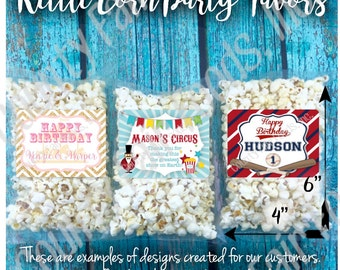 20 Personalized Kettle Corn Popcorn Party Favors - Birthday, Baby Shower, Gender Reveal, Wedding, Event, School, Holiday, Circus, Carnival