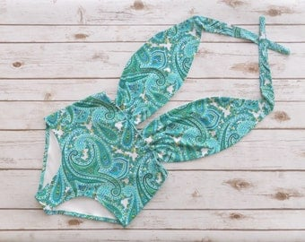 Vintage Style High Waisted  One Piece Swimsuit - Retro Paisley Floral Bathing Suit Swimwear In Mermaid Aqua Seafoam And White Color Print