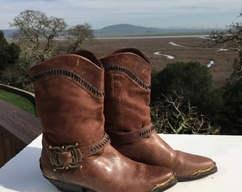 Circle S Brown Western Ankle Cowgirl Boots Size 6.5