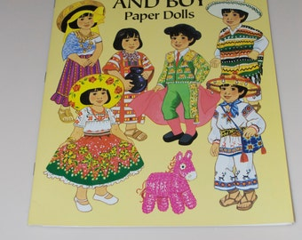 Kathy Allert Mexican Girl and Boy Paper Dolls Book Complete Uncut 1992