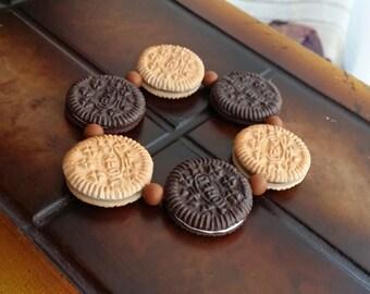 Mini Oreo Cookie Bracelet From Polymer Clay - Food Jewelry - Bisquit Bracelet - Clay Food Charm - Cookie / Biscuit Jewelry - Kawaii