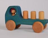 Blue wooden truck, wooden car by l'Atelier Cheval de bois