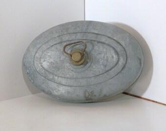 Vintage Zinc/Galvanized Bed Warmer Hot Water Bottle with Brass Top