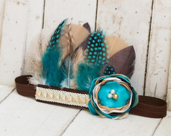 Pocahontas Turquoise and Brown Feather Headband, Indie Headdress, Feather Crown