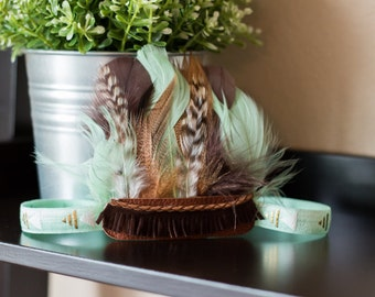 Mint and Brown Aztec Feather Headband, Indie Headdress, Feather Crown