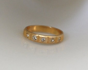 50s fake wedding ring fake engagement ring brushed gold wedding band mid century ring cheap wedding rings fake diamond ring multi stone ring - Fake Wedding Ring
