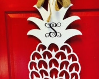 Wooden Monogrammed Pineapple Door Decor