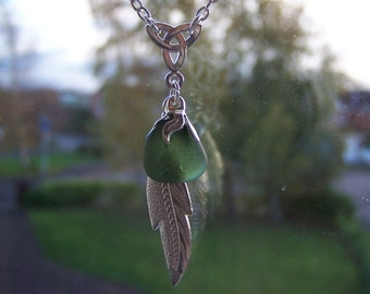Sea Glass Necklace with Celtic Knot - Green plus a Silver Feather