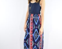 Made in USA  Tribal  maxi dress,oriental,ethnic,paisley
