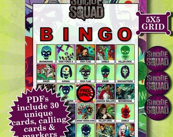 SUICIDE SQUAD 5x5 Bingo (30 Cards) printable PDFs contain everything you need to play Bingo.