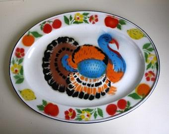 Turkey Serving Platter Enamelware