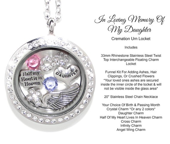 Daughter cremation urn cremation jewelry by lovestorycharms for Father daughter cremation jewelry