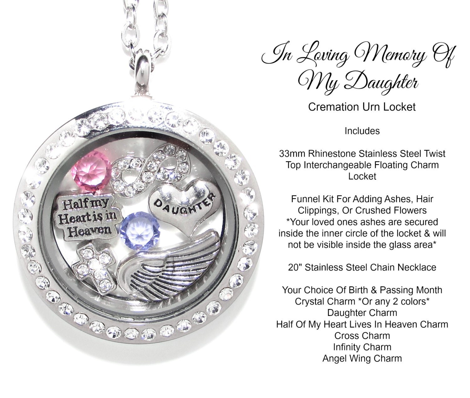 Daughter cremation urn cremation jewelry memorial necklace for Father daughter cremation jewelry