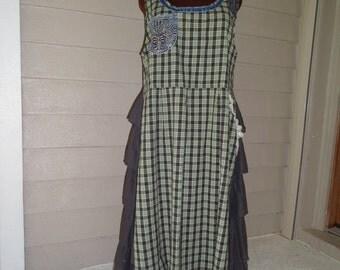XL Refashioned Cotton Dress/ Upcycled Plus Size Clothing/ Upcycled Eco Friendly Dress/ Boho Dress