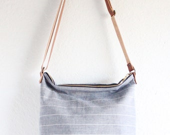 shoulder bag - chambray pinstripe with brown leather strap