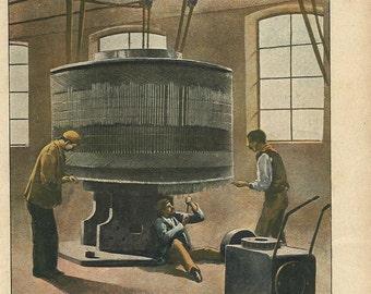 1900 Dinamo Industrial Machinery. Scientific World. Print original antique 115 years old nice print!