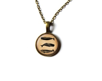 Nautical pendant Whale necklace Vintage jewelry NWR479