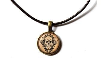 Anatomy jewelry Macabre necklace Skull pendant NWR263