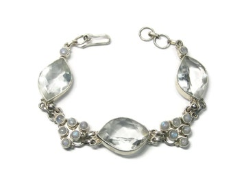 Vintage Moonstone Clear Quartz Sterling Bracelet