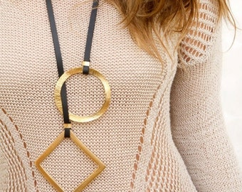 Long Leather Statement Necklace, geometric Necklace, Gold Loop Necklace, contemporary Gold Necklace, Modern necklace  gift idea for women