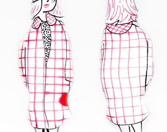 Lucy in a Red Coat pillow doll