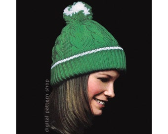 Knit Hat Pattern, Pom Pom Hat, Womens Cable Knit Hat Pattern, Winter Toque Pattern Instant Download PDF  K69