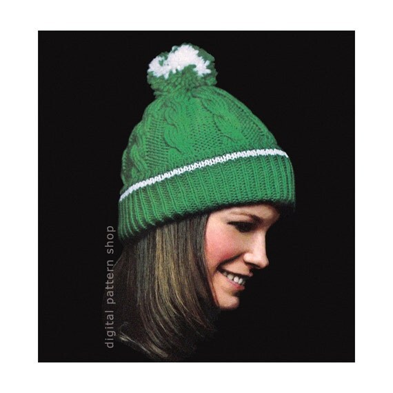 Knit Pom Pom Hat Pattern : Knit Hat Pattern Pom Pom Hat Womens Cable Knit Hat Pattern