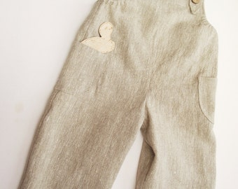 Natural linen young gardeners overalls. 62/3-6m - 128/7 baby, girl, boy, baby shower, summer  dungarees,romper