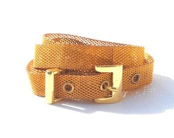 Vintage Gold Mesh Thin Metal Belt Small