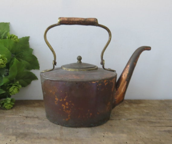 Antique copper tea kettle hand forged brass by
