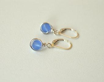 Blue sea glass earrings lever back earrings leverback sterling silver earrings sea glass jewelry dangle earrings wire wrapped earrings gift