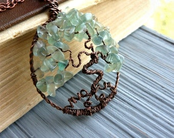 Green tree of life pendant Stone necklace Fluorite stone pendant Green jewelry Copper necklace Stone small tree Green tree of life necklace