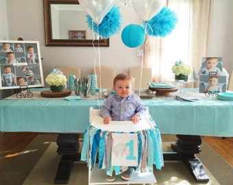 Nautical Highchair banner 1st Birthday Boy Anchor Nautical