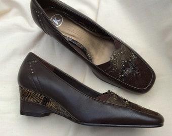 Vintage K shoes UK 4.5, brown wedge heel, leather, faux snakeskin trim.