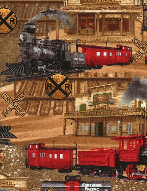 Trains fabric you choose size c5124 locomotive train for Train fabric by the yard