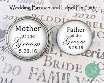 FATHER of the GROOM, MOTHER of the Groom, Brooch and Lapel pin set - Mother of the Groom brooch, Father of the Groom lapel pin, wedding