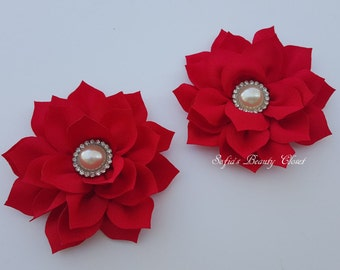 Red flower hair clip, Red hair clip, Flower hair clip, Red flower clip, Red kanzashi, Kanzashi hair clip, Hair clip, Bridesmaid hair clip