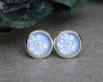 Blue Floral Earrings, Light Blue Earrings, Blue Stud Earrings, Blue Flower Earrings, White Stud Earrings, Baby Blue Earrings, 8MM Earrings