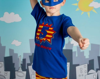 Boy's Superhero Birthday Shirt with Number Burst and Matching Shorts