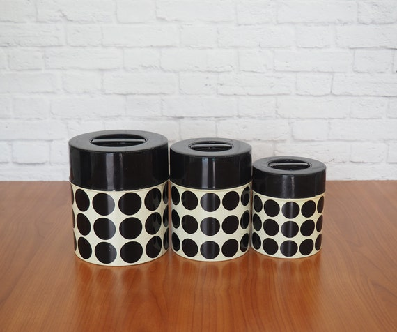 Retro Kitchen Tin Canister Set / Black And White Polka Dots By