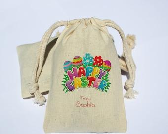 Happy Easter Cotton Muslin Favor Bag - Easter Eggs Party Favor Bag