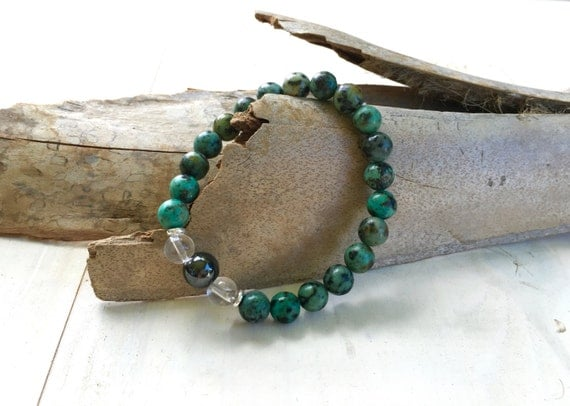 African Turquoise Bracelet, Natural Healing Jewelry, Boho Style Bracelet, Yoga Gift, Boutique Style Jewelry, Mala Inspired Jewelry