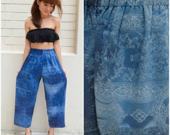 1980 Vintage Pants/ Imperial Carving Pants/ Small Pants/ Medium Pants/ Japanese Vintage/ Blue Pants/ Gradient Pants/ Summer Pants/ 80's