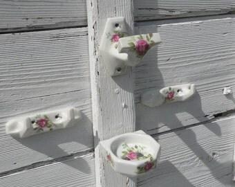 French vintage porcelain bathroom set, porcelain towel hooks, porcelain toothbrush holder, porcelain towel hook, floral porcelain bathroom