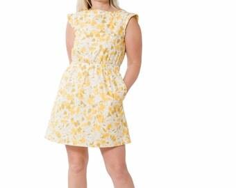 Curved Waist Dress ~ Vintage Inspired Dress ~ Vintage Inspired Fabric ~ Tank Dress ~ Yellow Vintage Dress ~ Women's Vintage Fashion ~ Ladies