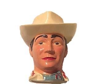 Vintage Roy Rogers Cup, 1950s Cowboy Cup, Roy Rogers Figural Souvenir Cup